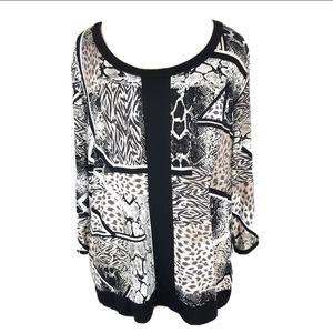 Dana Buchman Womens XL Black White 3/4 Sleeve Top